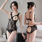 性感情趣内衣骚透明三点式睡衣小胸平胸开档漏乳挑逗激情套装超骚