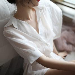 午夜火性感睡裙白衬衫透视火辣诱惑床上短裙透明薄纱私房睡衣女夏