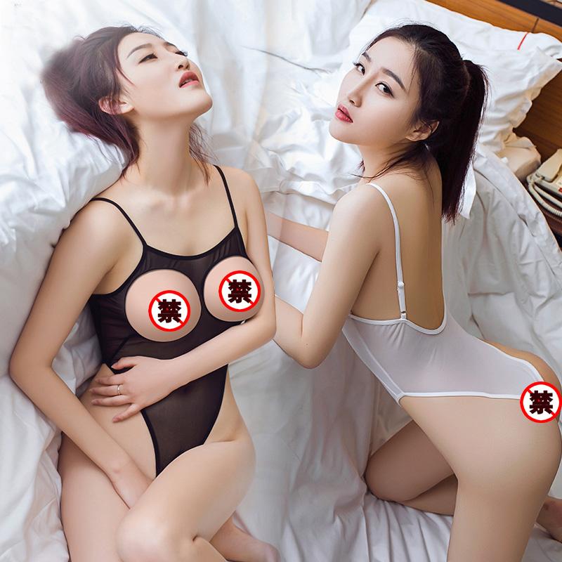 性感睡衣情趣骚开裆免脱挑逗诱惑床上漏奶乳头透明内衣学生连体衣