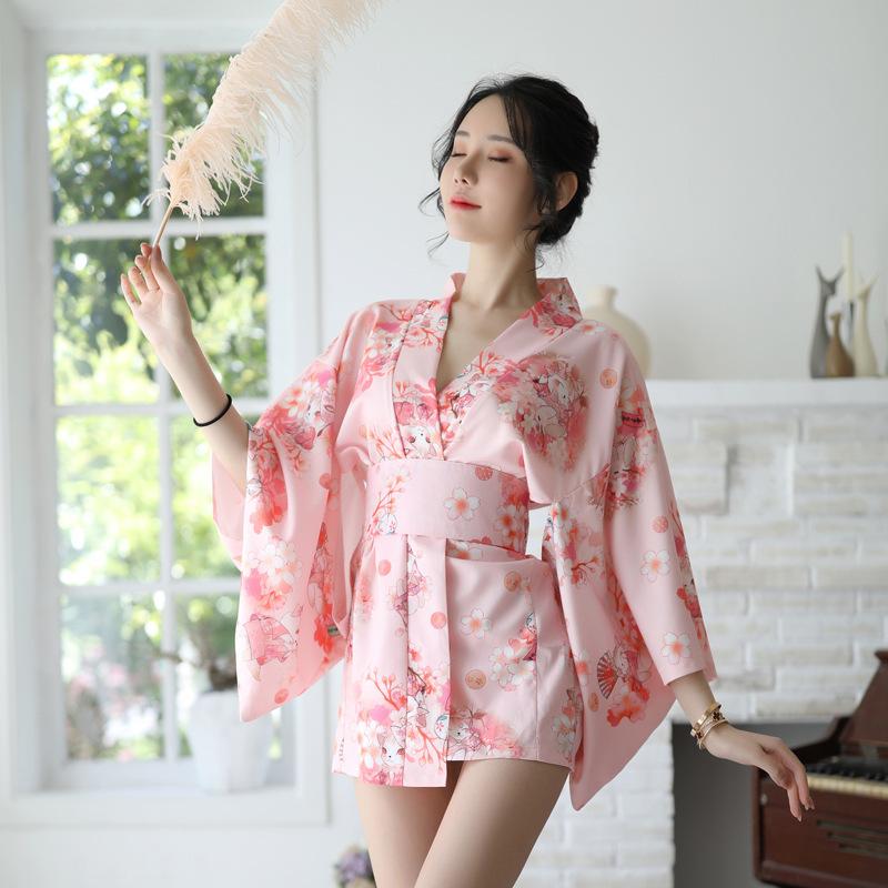 日系情趣内衣女大码日式印花和服旗袍套装骚浴袍唯美樱花制服睡袍